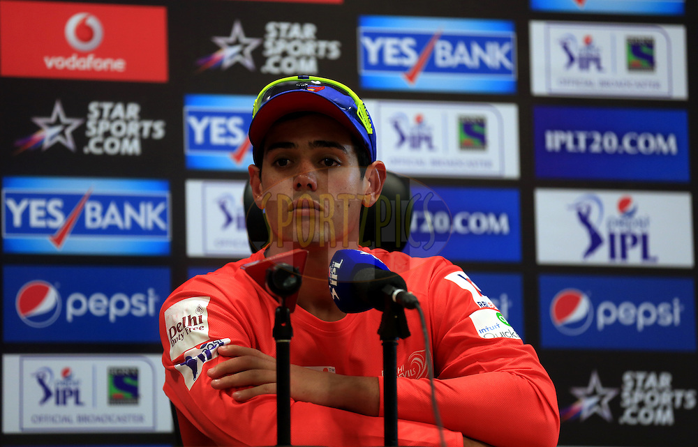 Quinton de Kock of the Delhi Daredevils during the press conference of the match 12 of the Pepsi Indian Premier League Season 7 between the Sunrisers Hyderabad and the Delhi Daredevils held at the Dubai International Stadium, Dubai, United Arab Emirates on the 25th April 2014<br /> <br /> Photo by Sandeep Shetty / IPL / SPORTZPICS