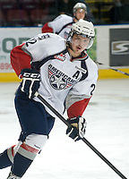 KELOWNA, CANADA, NOVEMBER 30: Justin Feser #22 of the Tri City Americans skates on the ice as the Tri City Americans visit the Kelowna Rockets  on November 30, 2011 at Prospera Place in Kelowna, British Columbia, Canada (Photo by Marissa Baecker/Shoot the Breeze) *** Local Caption *** Justin Feser;