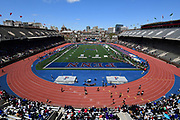Apr 26, 2018; Philadelphia, PA, USA; General overall view of a girls 4 x 100m relay heat during the 124th Penn Relays at Franklin Field.