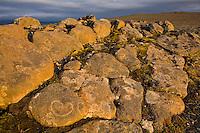 Rocks and boulders near Sauðafellsalda. Heart-shaped formation in the rock. Evening light.<br /> <br /> Grjótalda nærri tjaldbúðum Augnabliks við Sauðafellsöldu. Þarna hefur myndast hjartalaga mynstur í grjótinu. Falleg kvöldbirta.