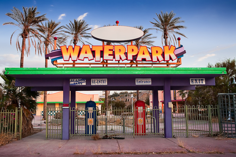 This art photography project is a thematic exploration of man's abandonment of his dreams.  This water park located in the Mojave Desert, near Newberry Springs was abandoned by the owners after bankruptcy.
