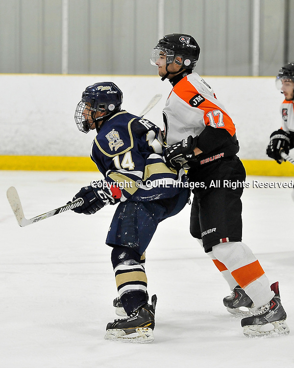 TORONTO, ON - Oct 13, 2014 : Ontario Junior Hockey League game action between Orangeville and Toronto. Marcus Rose #14 of the Toronto Patriots Hockey Club battles for position with Ryan DaSilva #17 of the Orangeville Flyers Hockey Club during the second period.<br /> (Photo by Shawn Muir / OJHL Images)