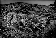 House on the flanks of Mt. Etna that was buried in lava in 1983.  Sicily, Italy.