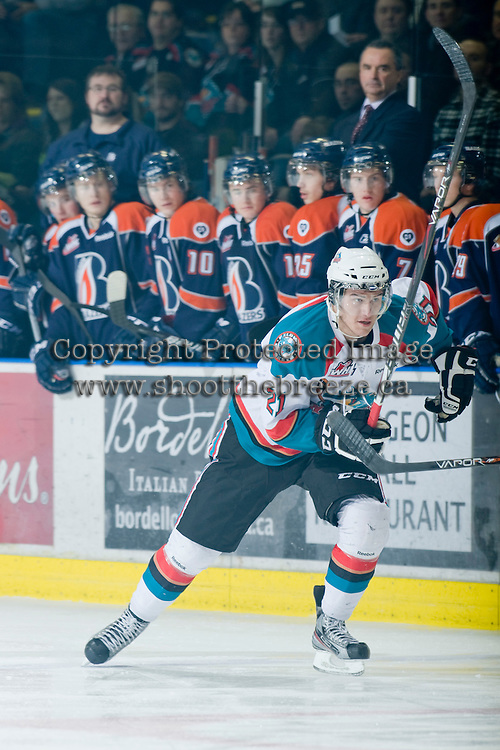 KELOWNA, CANADA, JANUARY 25: Brett Lyon #21 of the Kelowna Rockets skates on the ice as the Kamloops Blazers visit the Kelowna Rockets on January 25, 2012 at Prospera Place in Kelowna, British Columbia, Canada (Photo by Marissa Baecker/Getty Images) *** Local Caption ***