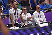 Roberto Oggioni, Sandro Senzameno, Raffaele Cortina<br /> Nazionale Italiana Maschile Senior<br /> Eurobasket 2017 - Group Phase<br /> Ucraina Italia Ukraine Italy<br /> FIP 2017<br /> Tel Aviv, 02/09/2017<br /> Foto M.Ceretti / Ciamillo - Castoria