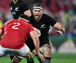 Keiran Read of New Zealand, right, charges at Jamie George of the Lions in the second International rugby test match between the the New Zealand All Blacks and British and Irish Lions at Westpac Stadium, Wellington, New Zealand, Saturday, July 01, 2017. Credit:SNPA / Ross Setford  **NO ARCHIVING""