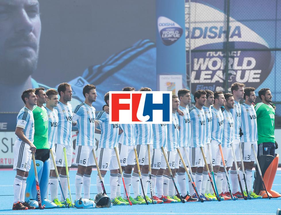 BHUBANESWAR - The Odisha Men's Hockey World League Final . Match ID 03. Argentina v Belgium. line up ArgentinaWORLDSPORTPICS COPYRIGHT  KOEN SUYK