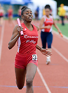 Rancocas Valley's Sydne Nance leads the 4x100 at the Burlington County Track and Field Open Championship Boys and Girls at Rancocas Valley High School Saturday May 21, 2016 in Rancocas, New Jersey. (Photo by William Thomas Cain)