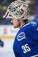 PENTICTON, CANADA - SEPTEMBER 16: Thatcher Demko #35 of Vancouver Canucks stands at the bench during warm up against the Edmonton Oilers on September 16, 2016 at the South Okanagan Event Centre in Penticton, British Columbia, Canada.  (Photo by Marissa Baecker/Shoot the Breeze)  *** Local Caption *** Thatcher Demko;