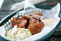 Deep fried ram testicles called River City Oysters at Dooley's Beef N' Brew House in St. Louis, MO.
