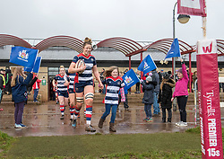 Amelia Buckland-Hurry of Bristol Ladies and her mascot lead out the Bristol players - Mandatory by-line: Paul Knight/JMP - 03/02/2018 - RUGBY - Cleve RFC - Bristol, England - Bristol Ladies v Harlequins Ladies - Tyrrells Premier 15s