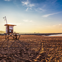 Newport Beach Wedge Lifeguard Tower W at sunrise. The Wedge and Newport Jetty is a popular surfing spot in Orange County Southern California. Copyright ⓒ 2010 Paul Velgos with All Rights Reserved.