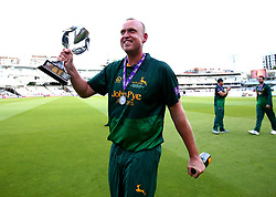 Luke Fletcher of Nottinghamshire celebrates winning the Royal London One Day Cup after his side beat Surrey - Mandatory by-line: Robbie Stephenson/JMP - 01/07/2017 - CRICKET - Lord's Cricket Ground - London, United Kingdom - Nottinghamshire v Surrey - Royal London One-Day Cup Final 2017