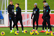 England forward Harry Kane and defender Kieran Trippier during the England football team training session at St George's Park National Football Centre, Burton-Upon-Trent, United Kingdom on 13 November 2019.