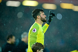 LIVERPOOL, ENGLAND - Wednesday, January 30, 2019: Liverpool's goalkeeper Alisson Becker walks out before the FA Premier League match between Liverpool FC and Leicester City FC at Anfield. (Pic by David Rawcliffe/Propaganda)