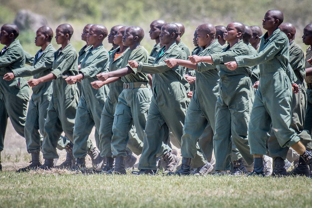 Park Rangers practicing drilling for the Hawange National Park. Hwange, Zimbabwe