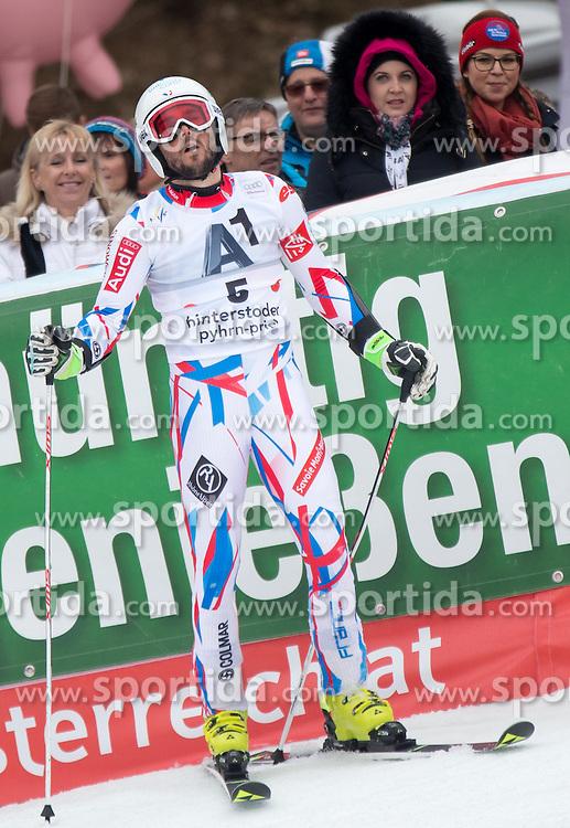 28.02.2016, Hannes Trinkl Rennstrecke, Hinterstoder, AUT, FIS Weltcup Ski Alpin, Hinterstoder, Riesenslalom, Herren, 2. Lauf, im Bild Thomas Fanara (FRA) // Thomas Fanara of France reacts after his 2nd run of men's Giant Slalom of Hinterstoder FIS Ski Alpine World Cup at the Hannes Trinkl Rennstrecke in Hinterstoder, Austria on 2016/02/28. EXPA Pictures © 2016, PhotoCredit: EXPA/ Johann Groder