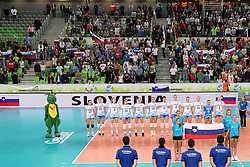 Team Slovenia during national anthem during the volleyball match between National team of Turkey and Slovenia in Gold Medal game of Womens U23 World Championship 2017, on September 17, 2017 in SRC Stozice, Ljubljana, Slovenia. Photo by Morgan Kristan / Sportida