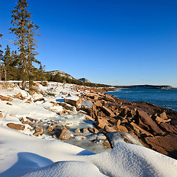A winter morning on the Maine coast in Acadia National Park.  Ocean Drive section of the park.
