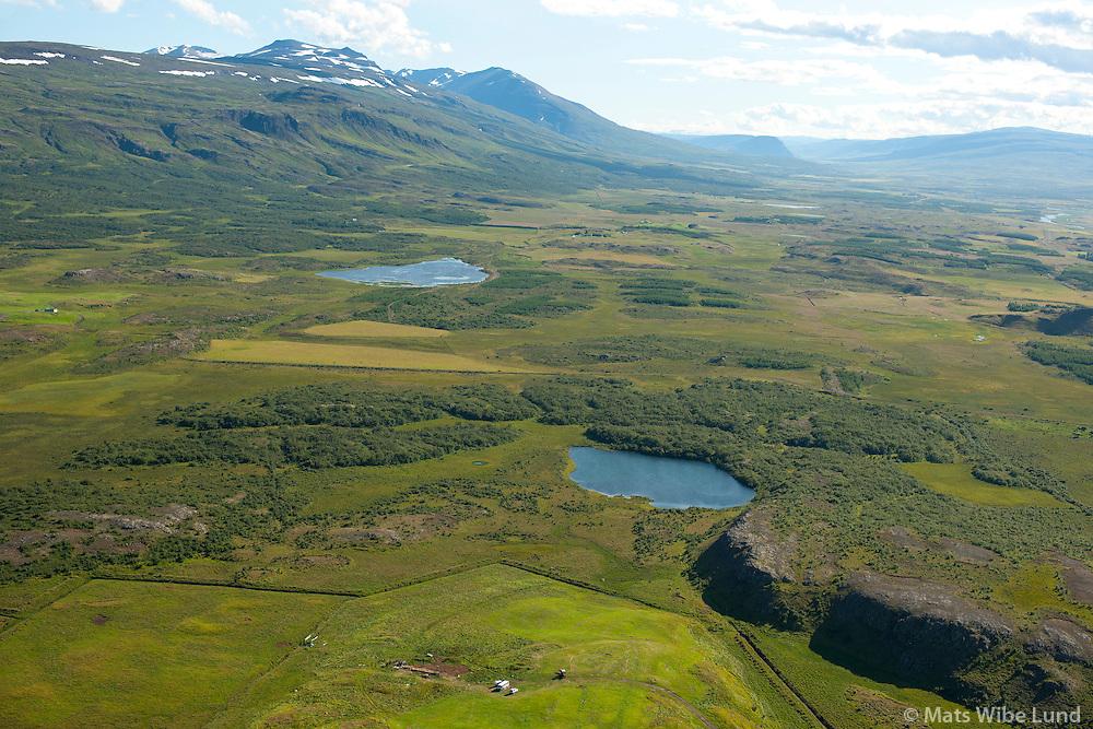 Kollsstaðir eyðijörð séð til suðurs, Höfðasel í bakgrunni t.h. Fljótsdalshérað áður Vallahreppur /  Kollsstadir viewing south, approximate location of Hofdasel former farmsite in background right, Fljotsdalsherad former Vallahreppur.