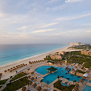 View from balcony of hotel room..Hilton, Cancun..Quintana Roo, Mexico.