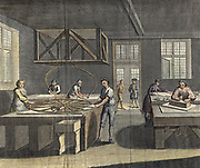Grinding and polishing plate glass. From 'The Universal Magazine' London 1760. Hand-coloured engraving.