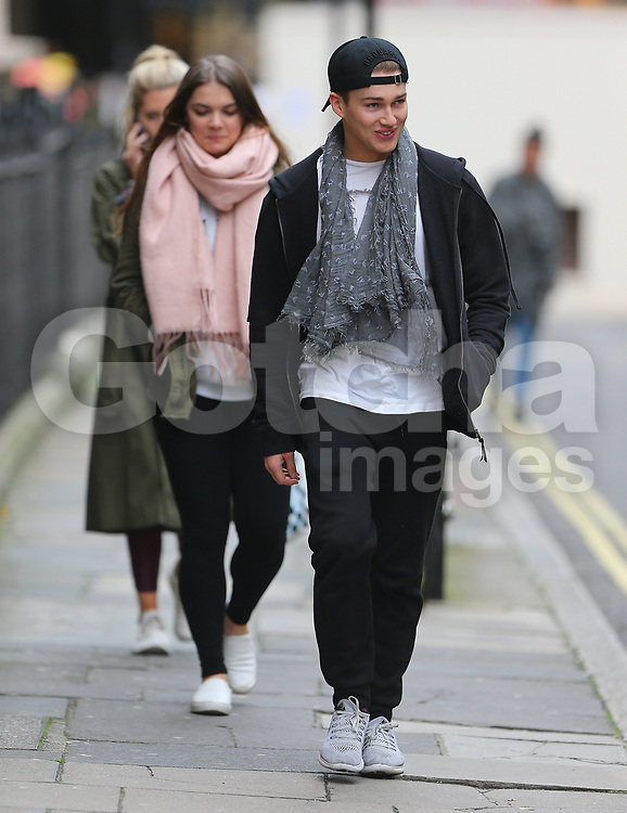 Strictly Come Dancing partners AJ Pritchard and Mollie King take a break from rehearsals and go for lunch with AJ's professional dance partner Chloe Hewitt in London, UK. 08/11/2017<br /> BYLINE MUST READ : JAMESY/GOTCHA IMAGES<br /> <br /> Copyright by &copy; Gotcha Images Ltd. All rights reserved.<br /> Usage of this image is conditional upon the acceptance <br /> of Gotcha Images Ltd, terms and conditions available at<br /> www.gotchaimages.com