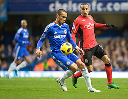 15.01.2011, Stamford Bridge, London, ENG, PL, Chelsea vs Blackburn Rovers Chelsea's Jose Bosingwa shields the ball from Blackburn Rover's Martin Olsson, English Premier League, Stamford Bridge, Chelsea v Blackburn Rovers, 15/01/2011, EXPA Pictures © 2010, PhotoCredit: EXPA/ IPS/ M. Greenwood *** ATTENTION *** UK AND FRANCE OUT!