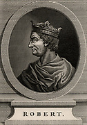 Robert II the Pious (971-1031) A member of the Capetian dynasty.  King of France from 996. Copperplate engraving, 1793.
