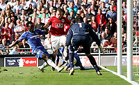 Photo: Paul Thomas.<br /> Chelsea v Manchester United. The FA Cup Final. 19/05/2007.<br /> <br /> Wayne Rooney (Red) of Utd comes very close before full-time with this goal scoring chance.