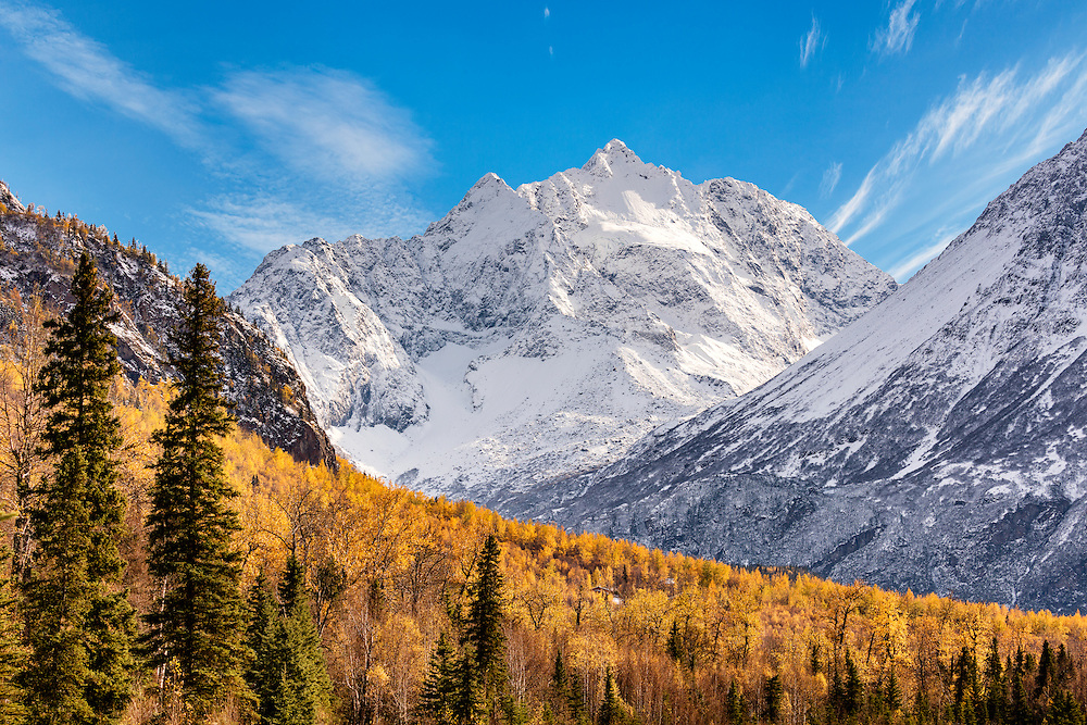 Polar Bear peak with fresh snow in late autumn in Eagle River Valley in Chugach State Park in Southcentral Alaska. Afternoon.