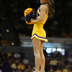 14 February 2009: A LSU Cheerleader performs during a NCAA basketball game between SEC rivals the Ole Miss Rebels and the LSU Tigers at the Pete Maravich Assembly Center in Baton Rouge, LA.