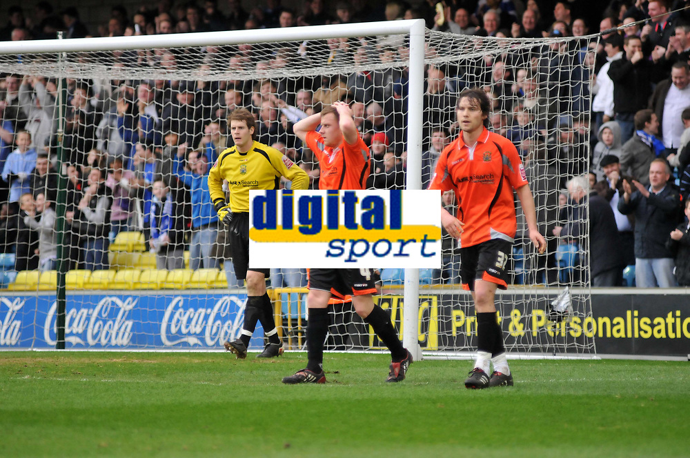 Photo: Tony Oudot/Richard Lane Photography. Millwall v Stockport Country. Coca-Cola Football League One. 27/03/2010. <br /> Dejected Stockport players at the end of the match