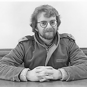 "Brian O""Donovan radio host, WERS-PM , at Emerson College, 1984."