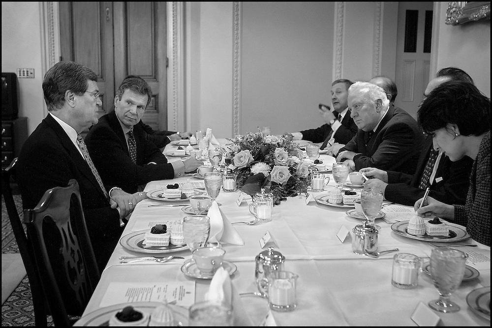 Sens. Trent Lott and Tom Daschle meet with Eduard Schevernadze at the Capitol.  10/4/01..©PF BENTLEY/PFPIX.com