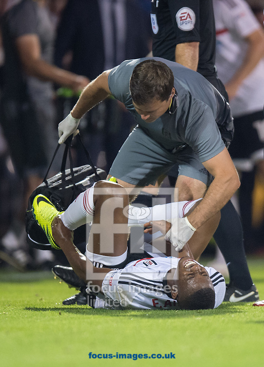 Floyd Ayite of Fulham shows the pain after a tackle during the Sky Bet Championship match at Craven Cottage, London<br /> Picture by Alan Stanford/Focus Images Ltd +44 7915 056117<br /> 13/09/2016