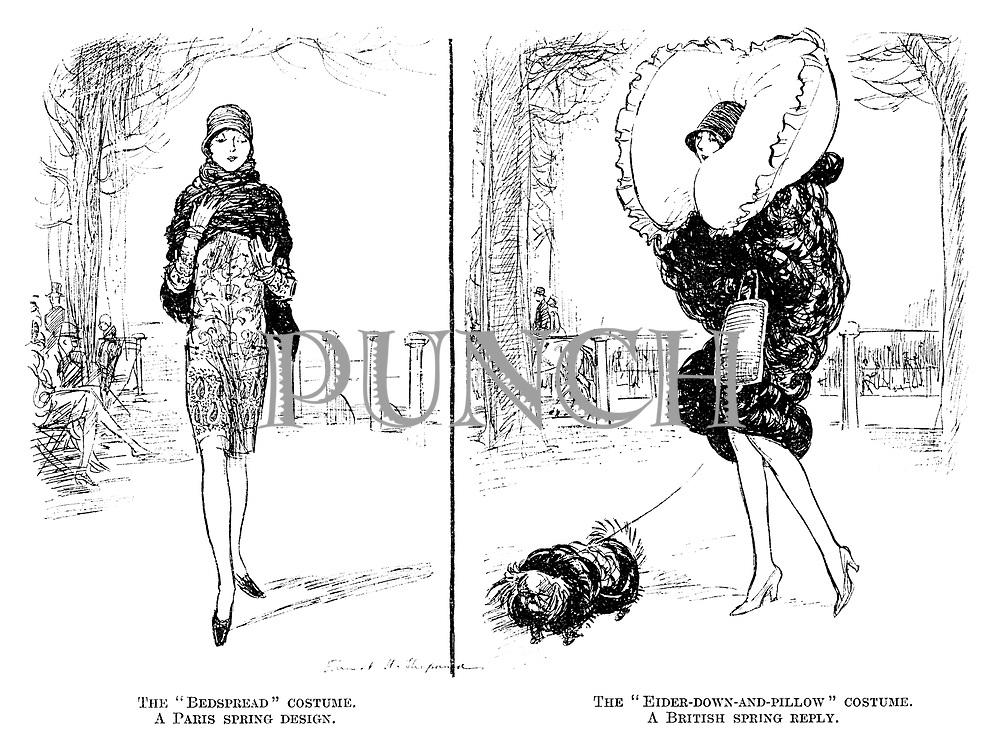 "The ""bedspread"" costume. A Paris spring design. The ""Eider-down-and-pillow"" costume. A British spring reply."