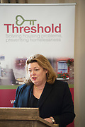 Repro Free: Regional Threshold Chairperson  Aideen Hayden  at the launch of Threshold: The Galway Tenancy Protection Service annual report  by Minister for Community Development, Natural Resources and Digitial Development  Sean Kyne in Galway.  Photo:Andrew Downes, xposure .