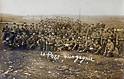 ww 1 French 19th army battalion posing in the field at Larzac 1914