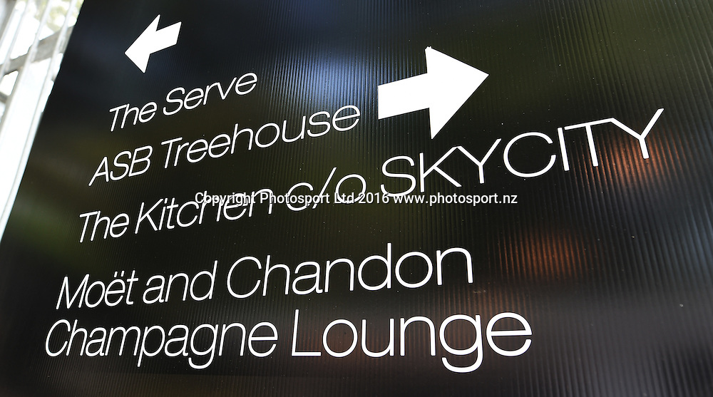 Signage on quarter finals day at the ASB Classic Tennis Men's tournament. ASB Tennis Centre, Stanley st, Auckland, New Zealand. Thursday 14 January 2016. Copyright Photo: Andrew Cornaga / www.photosport.nz