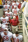 BERKELEY, CA -  NOVEMBER 21:  Head coach Bill Walsh of Stanford University heads to the locker room after warmups prior to the playing of the Big Game between the University of California Berkeley and Stanford at Memorial Stadium in Berkeley, California on November 21, 1992.   Stanford won the game 41-21.  (Photo by David Madison/Getty Images) *** Local Caption *** Bill Walsh
