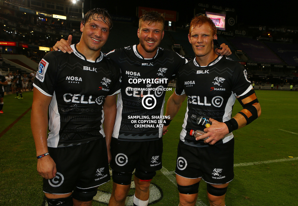 DURBAN, SOUTH AFRICA - MARCH 05: Etienne Oosthuizen  with Stephan Lewies and Philip van der Walt of the Cell C Sharks during the 2016 Super Rugby match between Cell C Sharks and Jaguares at Growthpoint Kings Park Stadium on March 05, 2016 in Durban, South Africa. (Photo by Steve Haag/Gallo Images)