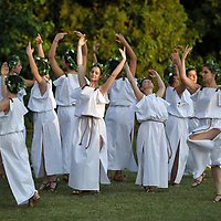Aquileia, Italy - 17 June 2018: Ancient Roman dancers in traditional costumes at Tempora in Aquileia, ancient Roman historical re-enactment