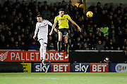 Burton Albion defender Tom Flanagan (2) and Fulham defender Scott Malone (3) during the EFL Sky Bet Championship match between Burton Albion and Fulham at the Pirelli Stadium, Burton upon Trent, England on 1st February 2017. Photo by Richard Holmes.