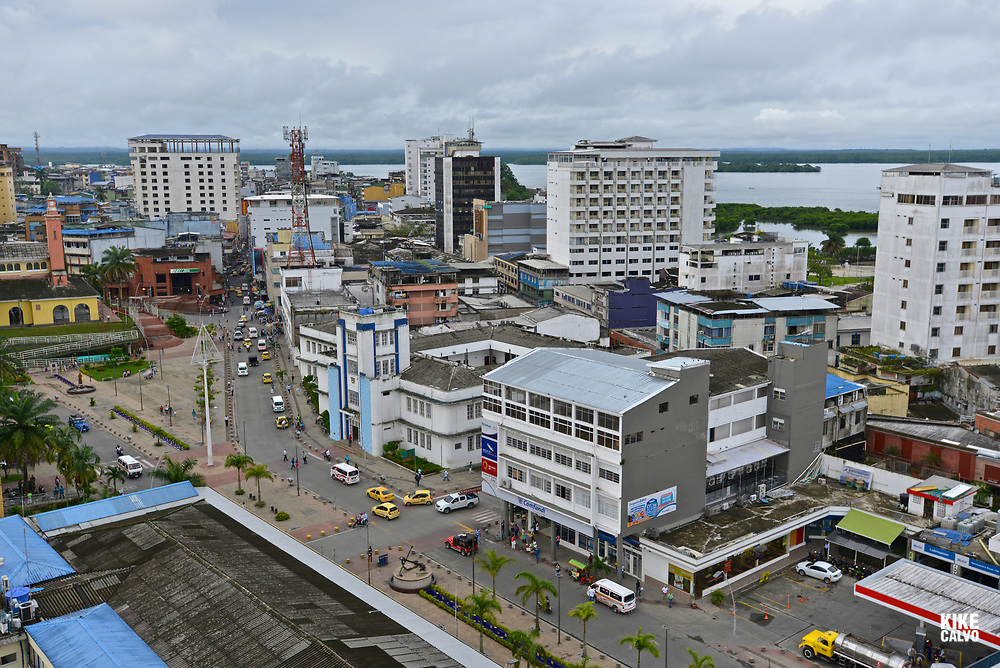 Aerial view of the port city of Buenaventura, Colombia
