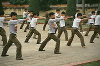 Soilders train in the martial arts outside Ho Chi Minh's Mausoleum.