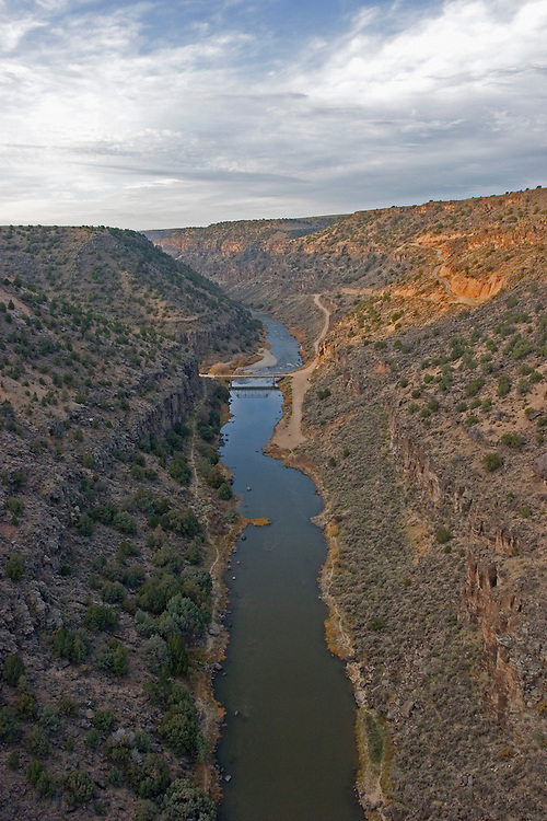 Vertical aerial view of Rio Grande River Gorge in Taos County<br />