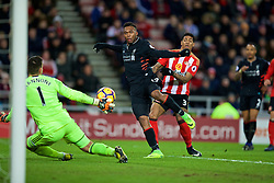 SUNDERLAND, ENGLAND - Monday, January 2, 2017: Liverpool's Daniel Sturridge sees his shot saved by Sunderland's goalkeeper Vito Mannone during the FA Premier League match at the Stadium of Light. (Pic by David Rawcliffe/Propaganda)