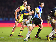Harlequins player Danny Care clears the ball in the second half during the Aviva Premiership match between Harlequins and Sale Sharks at Twickenham Stoop, Twickenham, United Kingdom on 7 January 2017. Photo by Ian  Muir.during the Aviva Premiership match between Harlequins and Sale Sharks at Twickenham Stoop, Twickenham, United Kingdom on 7 January 2017. Photo by Ian  Muir.