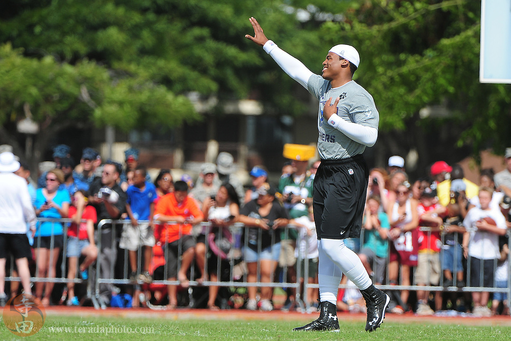 Jan 26, 2012, Honolulu, HI, USA; NFC quarterback Cam Newton of the Carolina Panthers (1) waves to the fans during practice for the 2012 Pro Bowl at Joint Base Pearl Harbor-Hickam.